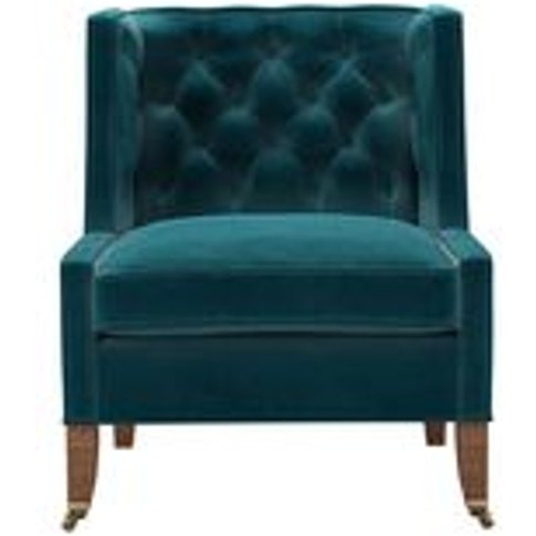 Descartes Armchair In Deep Turquoise Cotton Matt Velvet