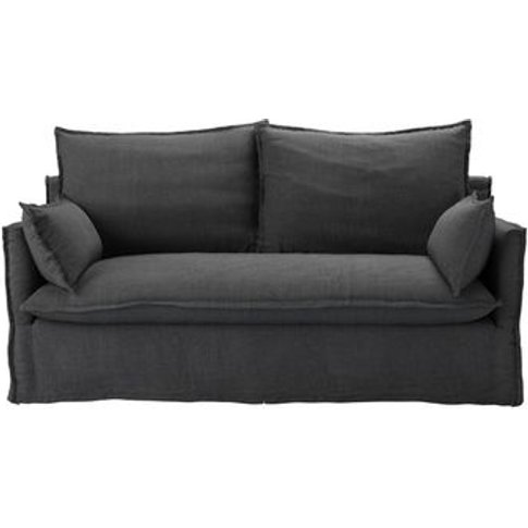 Isaac 2.5 Seat Sofa In Charcoal Brushed Linen Cotton