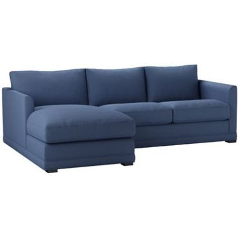 Aissa Small Lhf Chaise Sofa In Oxford Blue Brushed L...