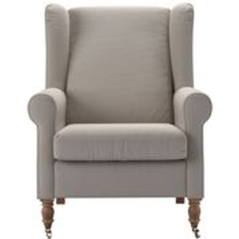 Duke Armchair In Stone Brushed Linen Cotton
