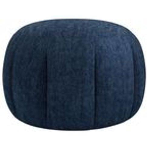 Harper Round Footstool In Channel Blue Sandgate