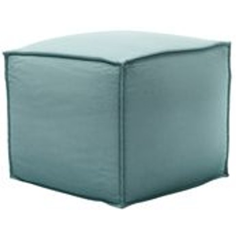 Isaac Small Square Footstool In Eucalyptus Smart Cotton