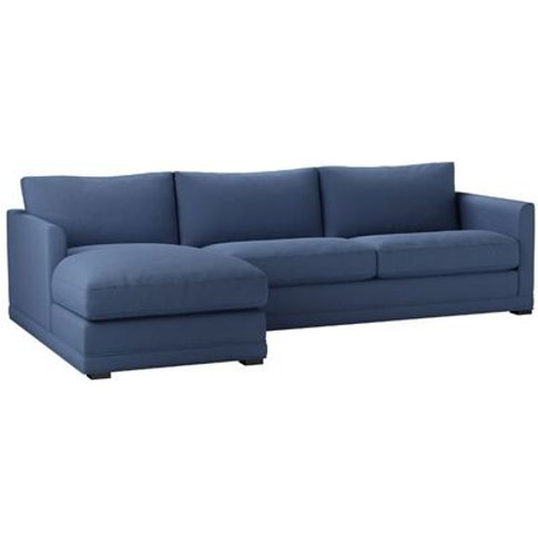 Aissa Large Lhf Chaise Sofa In Oxford Blue Brushed L...
