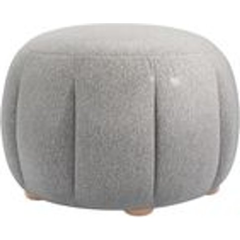 Harper Round Footstool In Abalone Smart Slubby Cotton