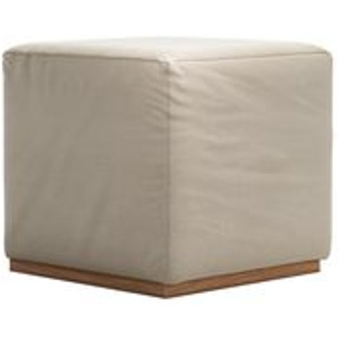 Hugo Small Square Footstool In Moon Smart Cotton