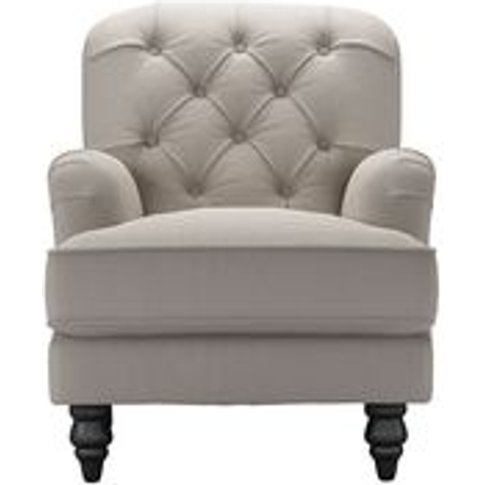 Snowdrop Button Back Small Armchair In Stone Brushed...