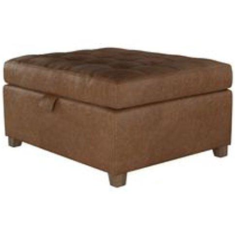 Club Small Rectangular Storage Footstool In Tan Vint...