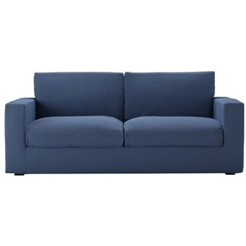 Stella 3 Seat Sofa In Oxford Blue Brushed Linen Cotton
