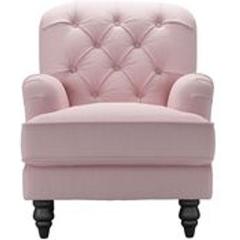 Snowdrop Button Back Small Armchair In Powder Pink B...