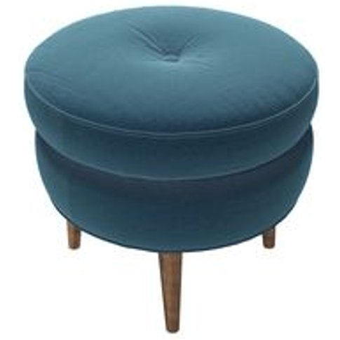 Felix Round Footstool In Seaweed Smart Cotton