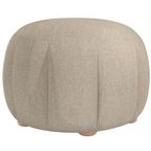 Harper Round Footstool In Cashew Baylee Viscose Linen