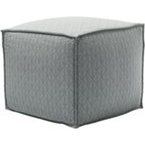 Isaac Small Square Footstool In Nickel Hawthorn Stencil