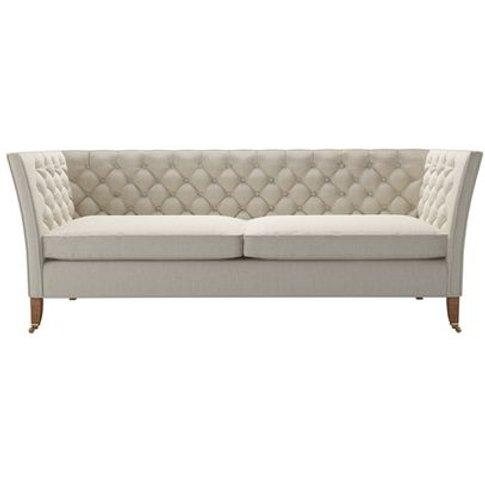Descartes 3 Seat Sofa In Canvas Pure Belgian Linen