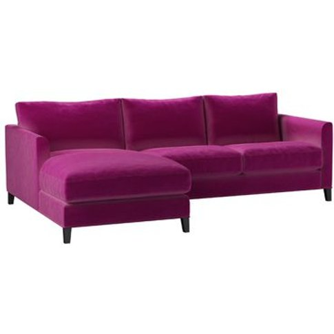 Izzy Small Lhf Chaise Sofa In Peony Cotton Matt Velvet