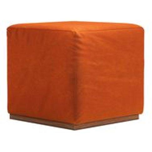 Hugo Small Square Footstool In Paprika Smart Velvet