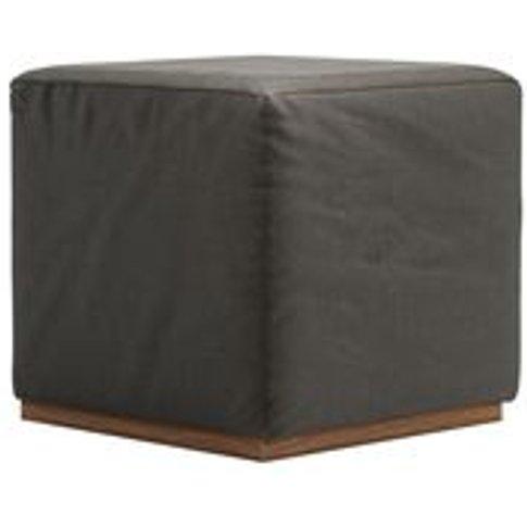 Hugo Small Square Footstool In Elephant Cotton Matt Velvet