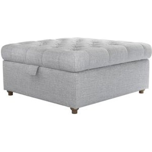 Valentin Medium Square Storage Footstool In Frost Hi...