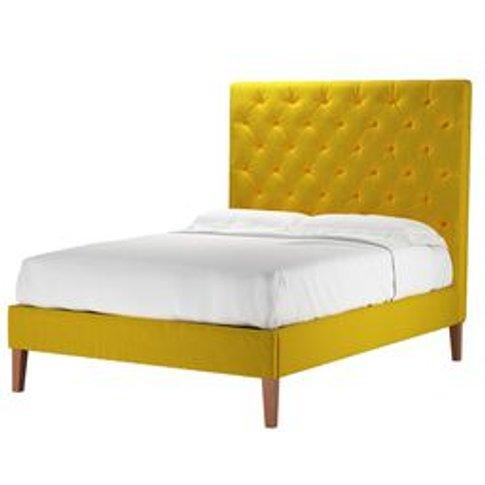 Rosalie 150cm Double Bed In Canary Cotton Matt Velvet