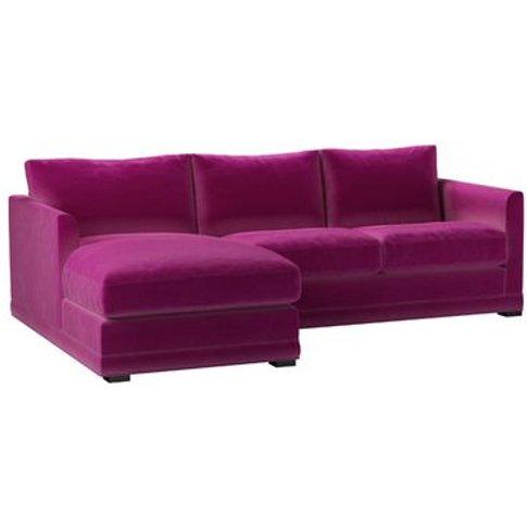 Aissa Small Lhf Chaise Storage Sofa In Peony Cotton Matt Velvet