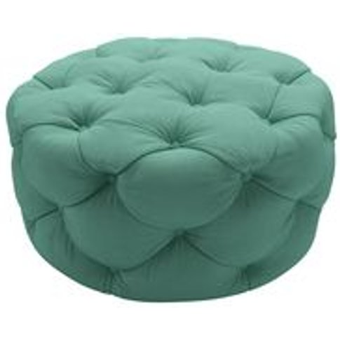 Georgette Round Footstool In Jungle Smart Linen