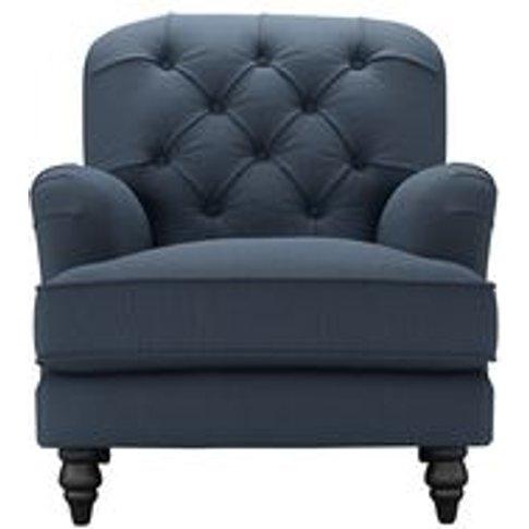 Snowdrop Button Back Armchair In Midnight Blue Brush...