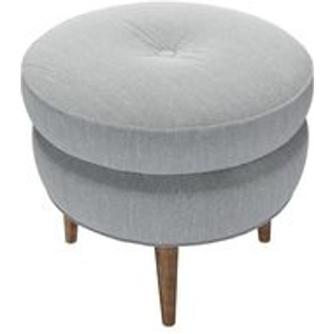 Felix Round Footstool In Beluga Chenille