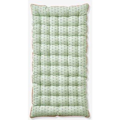 Dual Fabric Floor Cushion, Palmettes Blue Medium Sol...