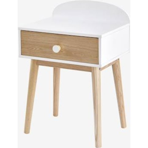 Bedside Table With Pulls, Confetti Theme White Light Solid With Design
