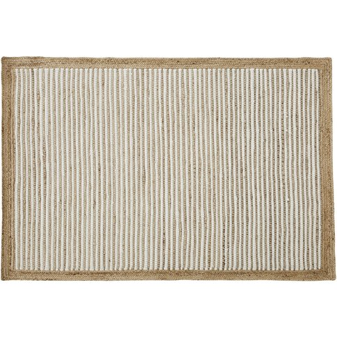 140x200cm Hand-Woven White Cotton And Jute Rug