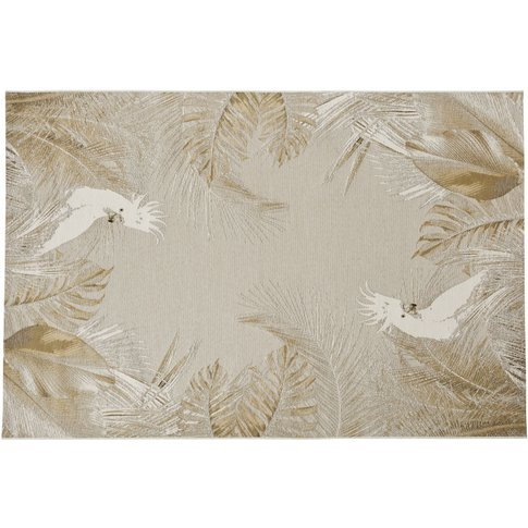 160x230cm White And Beige Woven Jacquard Polypropyle...
