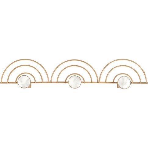 3-Hook Coat Rack In Gold Metal And Marble-Effect Resin