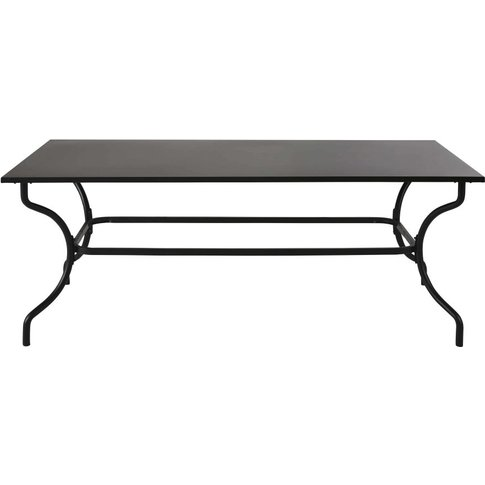 8/10-Person Garden Table In Black Wrought Iron And Black Metal L200cm