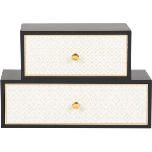Black And Cream 2-Drawer Storage Unit With Gold Print