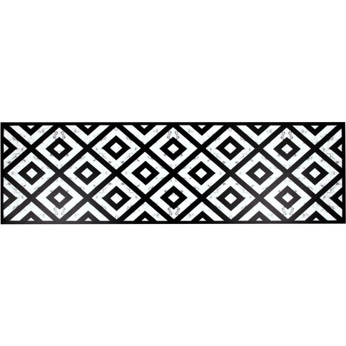 Black And White Vinyl Rug With Print 60x199