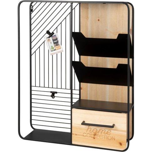 Black Metal Storage Unit With 1 Drawer