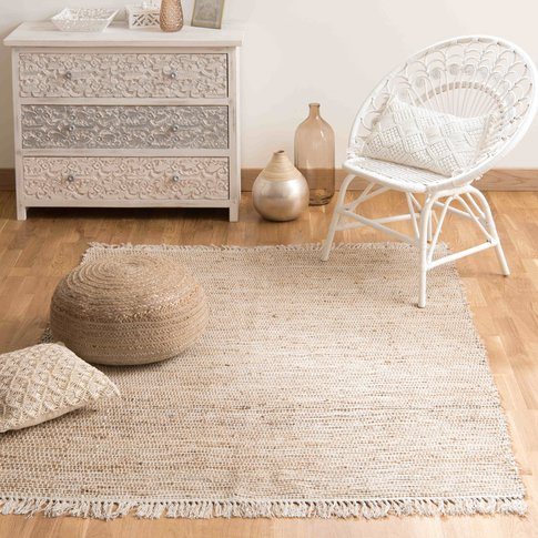 Cotton And Jute Woven Rug 160 X 230cm