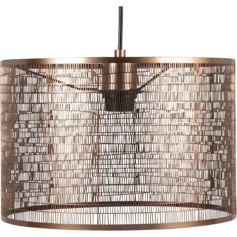 Drum Pendant Light In Bronze Metal