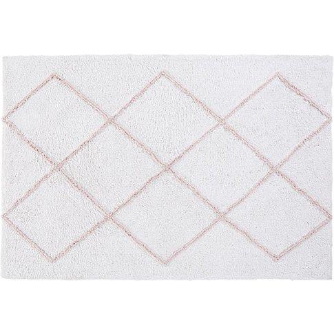 Ecru Cotton Rug With Pink Graphic Motifs 120x180