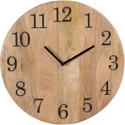 Engraved Mango Wood Clock D40cm