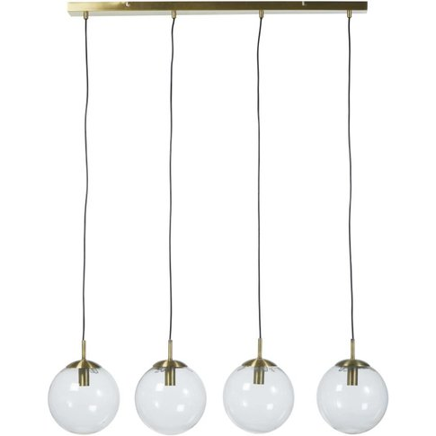 Glass And Gold Metal Pendant Light With 4 Shades
