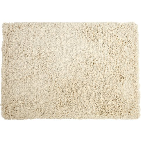 Hand-Woven Shaggy Rug In Ecru Cotton And Wool 160x230cm