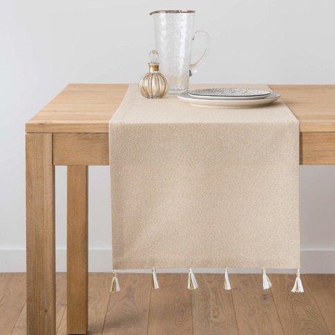 Iridescent Beige Cotton Table Runner With Tassels 40...