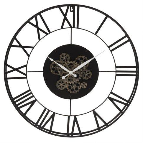 Perpetual Black Metal Cog Clock D70