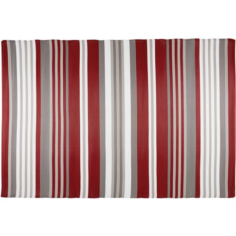 Red And White Striped Fabric Outdoor Rug 180x270