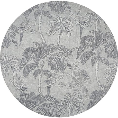 Round Beige Jacquard Woven Rug With Anthracite Grey ...