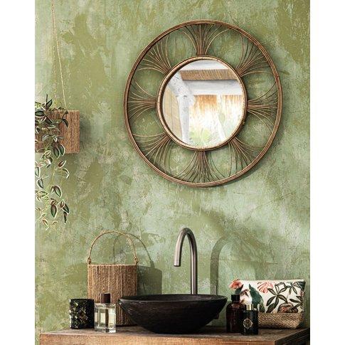 Round Woven Rattan Mirror D62