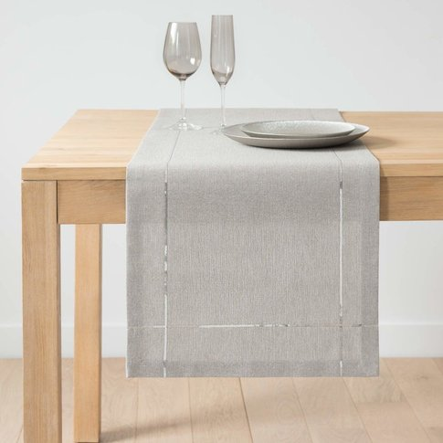 Silver And Grey Cotton Table Runner L150