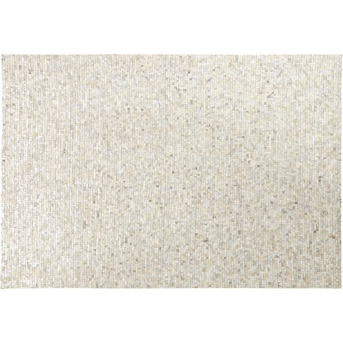 Silver Cowskin Rug With Graphic Print 140x200