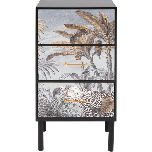 Small 3-Drawer Storage Unit With Jungle Print