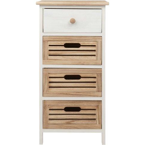 Small Paulownia 4-Drawer Storage Unit